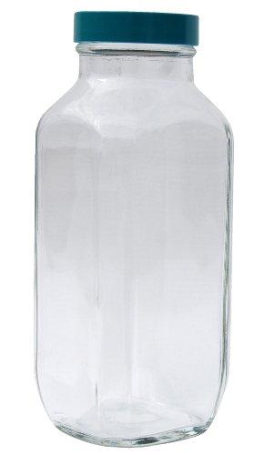 Vestil Btl-Sw-G-16-Cs Wide-Mouth Square Glass Bottle With Green Cap, 16 Oz Capacity, Clear (Pack Of 6)