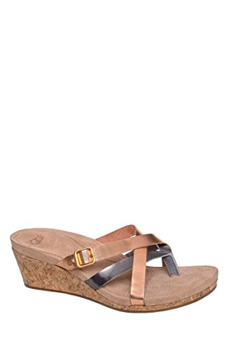 Adalie Metallic Mid Wedge Slide Sandal