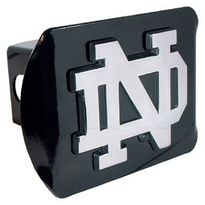 Black and Chrome Notre Dame Metal Trailer Hitch Cover