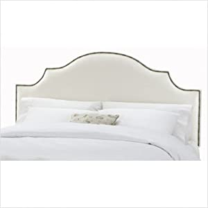 Arc Notched Nail Button Headboard in Shantung Pearl Size: Full