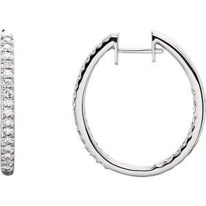 Genuine IceCarats Designer Jewelry Gift 14K White Gold Diamond Earring. Diamond Earrings In 14K White Gold