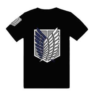 視線独占! 進撃の巨人!Tシャツ 重ね翼の紋章 サイズM 黒(ブラック)エレン・ミカサ コスプレ衣装  調査兵団【空縁隊】