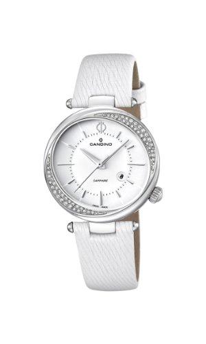 Candino C4532/1 - Reloj analógico de cuarzo para mujer, correa de cuero color blanco