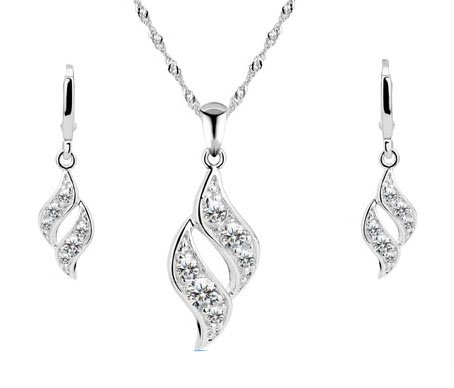 Rhodium Plated Rhinestone encrusted Pendant Necklace and Earrings Set