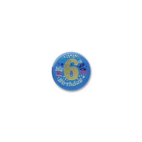 "My 6th Birthday Satin Button (Blue) 2"" Party Accessory"