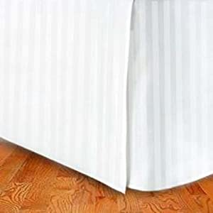 marrikas tm 1500 class microfiber twin extra long bed skirt stripe white home. Black Bedroom Furniture Sets. Home Design Ideas