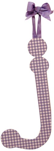 """My Baby Sam 9"""" Lavender Gingham Hanging Letter, J - 1"""