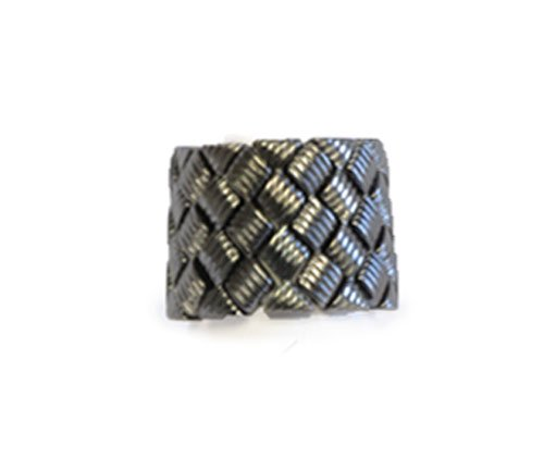 Basket Weave Stretch Ring Hematite