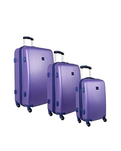 Anne Klein Luggage Fast Lane 3-Piece Hardside Luggage Set, Aqua/Violet