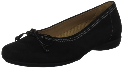 Gabor Womens Nubuk Estelle Ballet Flats 82.621.47 Black 7 UK, 40 EU