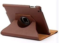 KolorFish iRotation 360 degree Rotate Leather Flip Stand Case Cover for Apple iPad Air Brown
