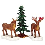 2003 Mr   Mrs Moose w  Tree Set of 3 Christmas Village Figurines