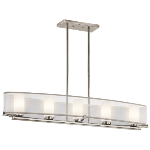 Kichler Lighting 42920CLP Saldana 5-Light Single Linear Pendant, Classic Pewter Finish with Etched Opal Glass Shades and White Translucent Organza Shade