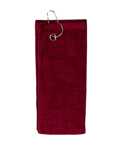 Simplicity 100% Cotton Terry Sports Golf Towel with Grommet and Hook, Wine