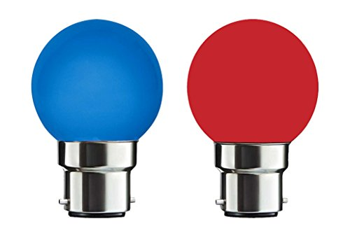 0.5 W Night Lamp B22 LED Bulb (Blue and Red, Pack of 2)