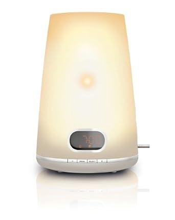 Philips HF3470/01 Wake-up Light (250 Lux, Halogenlampe, 2 Wecktöne,FM Radio) weiß