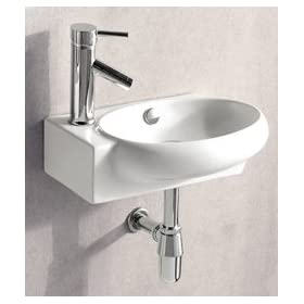 ELITE SINKS EC9888-R Porcelain White Wall-Mounted Oval Right-Facing Sink