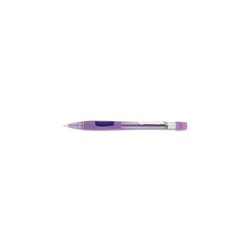 Pentel Products   Pentel   Quicker Clicker Automatic Pencil, 0.70 mm, Transparent Violet Barrel   Sold As 1 Each   Original side advance pencil.   Latex free molded grip for exceptional comfort.   Side button propels lead.   Metal clip.   Covered eraser.