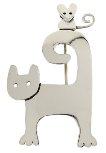 Curl Tailed Cat w/ Mouse Silver Pin
