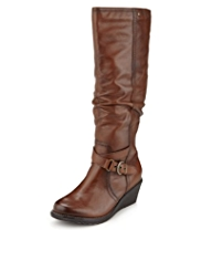 Footglove™ Leather Wedge Boots with Stretch Zip