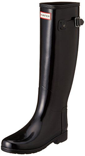 Donna Hunter Original Refined Tall Gloss La Neve Pioggia Wellingtons Stivali - Nero - 38