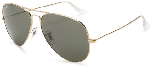 Ray-Ban RB3025 Polarized Aviator Sunglasses,Gold Frame/Green & Grey Lens,62 mm