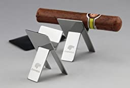 Cohiba Stainless Steel Foldable Cigar Stand Ashtray Holder With Black Case
