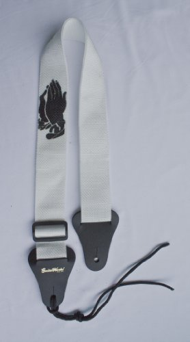 Christian Guitar Strap White Nylon With Black Praying Hands Solid Leather Ends & Heavy Duty Tie Lace Quality Materials Hand Made In U.S.A. Fast & Free Shipping & Handling To Any U.S. Address