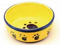 TopDawg Pet Supply Designer Stoneware Classic Paw Print Cat Dish 5'' Blue
