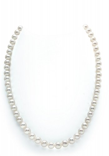7-8mm White Freshwater Pearl Necklace, 24 Inch Matinee Length