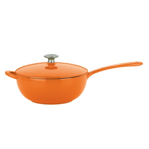 Mario Batali Enameled Cast Iron 4-Quart Saucier By Dansk, Persimmon