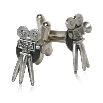 Hollywood Movie Camera Pewter Silver Cuff Links with Presentation Box
