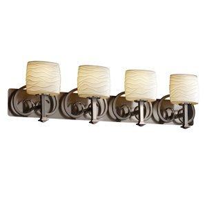 Justice Design POR-8584-50-OVAL-NCKL Heritage Four Light Bath Bar, Impression Option: Oval Shade Impression, Choose Finish: Black Nickel Finish, Choose Lamping Option: Standard Lamping