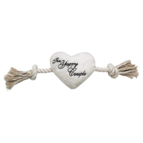 "Zanies "" The Yappy Couple "" Wedding Plush Heart & Rope Dog Pull Tug Toy 13″L"