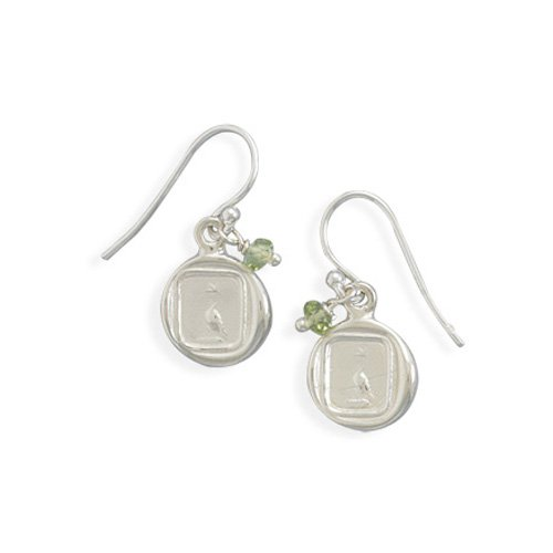 Sterling Silver Earrings with Dove Charm and Peridot Beads