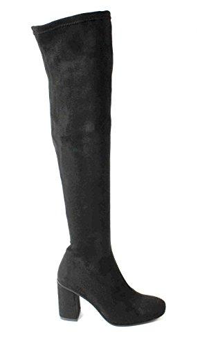 DIVINE FOLLIE 2311L nero stivale donna elasticizzato camoscio zip laterale tacco 37
