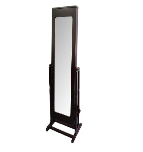 Ore International Th-8003Ch Standing Mirror With Storage And Jewelry Armoire Stand, 61-Inch, Dark Cherry Finish front-845332