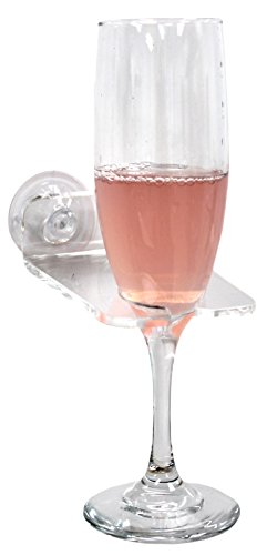 Bathtub & Shower Wine Glass Holder with Suction Cups, Clear Plastic (Wine In The Shower compare prices)