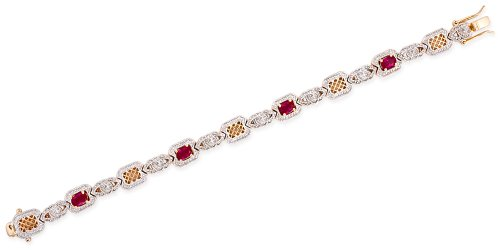 Simulated Ruby C.Z. Diamond Gold Lattice Link Bracelet (Nice Holiday Gift, Special Black Firday Sale)