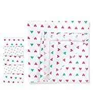 5 Pack Pure Cotton Bow & Star Print Muslin Cloths
