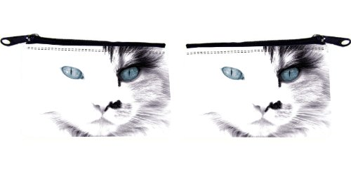 Rikki Knighttm White Cat With Blue Eyes Design Scuba Foam Coin Purse