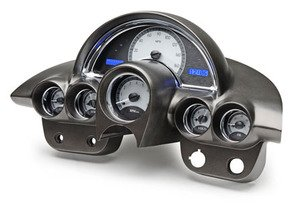 1958-62 Chevy Corvette VHX System, Satin Alloy Style Face, Blue Display