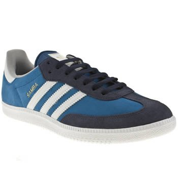 Adidas Original Samba Blue White New Suede Mens Trainers Shoes Boots-10