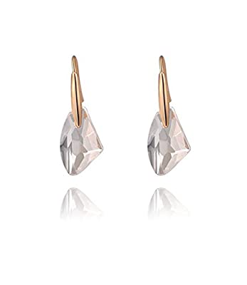 Ijewellery Rose Gold Plated Swarovski Elements Crystal Transparent Diamond Hook Drop Earrings for Women