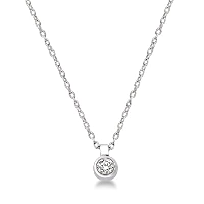 Miore 9 ct White Gold 0.05 ct I1 Diamond Solitaire Pendant Necklace