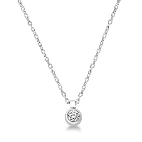 0.05 Carat I1 Diamond Solitaire Pendant Necklace in 9ct White Gold