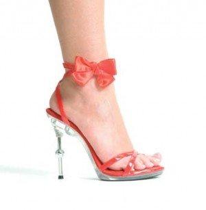4.5  Metallic Heel Sandal W/Removable Bow.