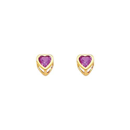 14K Yellow Gold 4mm Heart Bezel Set February CZ Birthstone Stud Earrings for Baby and Children (Amethyst, Purple)