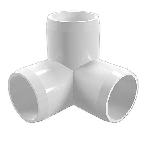 FORMUFIT F1143WE-WH-4 3-Way Elbow PVC Fitting, Furniture Grade, 1-1/4″ Size, White (Pack of 4)