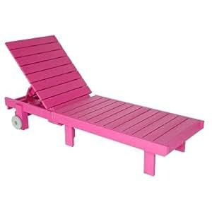 Fuchsia polywood adirondack chaise lounge for Adirondack chaise lounge